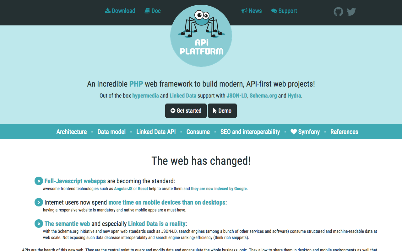 Screenshot of the API Platform website
